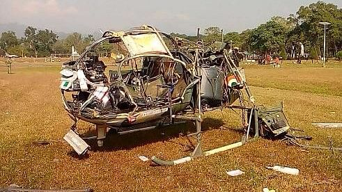 """The remnants of the Cheetah that crashed at HQs 33 Corps helipad at Sukna, West Bengal. (Photo Courtesy:Twitter/<a href=""""https://twitter.com/rahulsinghx"""">@rahulsinghx</a>)&nbsp;"""