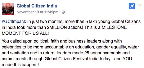 "(Photo Courtesy: Facebook/<a href=""https://www.facebook.com/glblctznIN"">Global Citizen India</a>)"