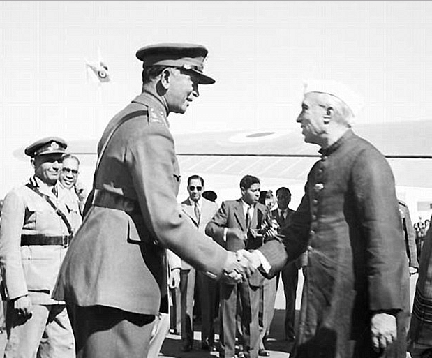 """What's in the third cabinet,""  Nehru asked. Army Chief KC Cariappa responded, ""Coup plans"" drawing  nervous laughter from the Prime Minister. (Photo Courtesy: Photodivision.gov.in"