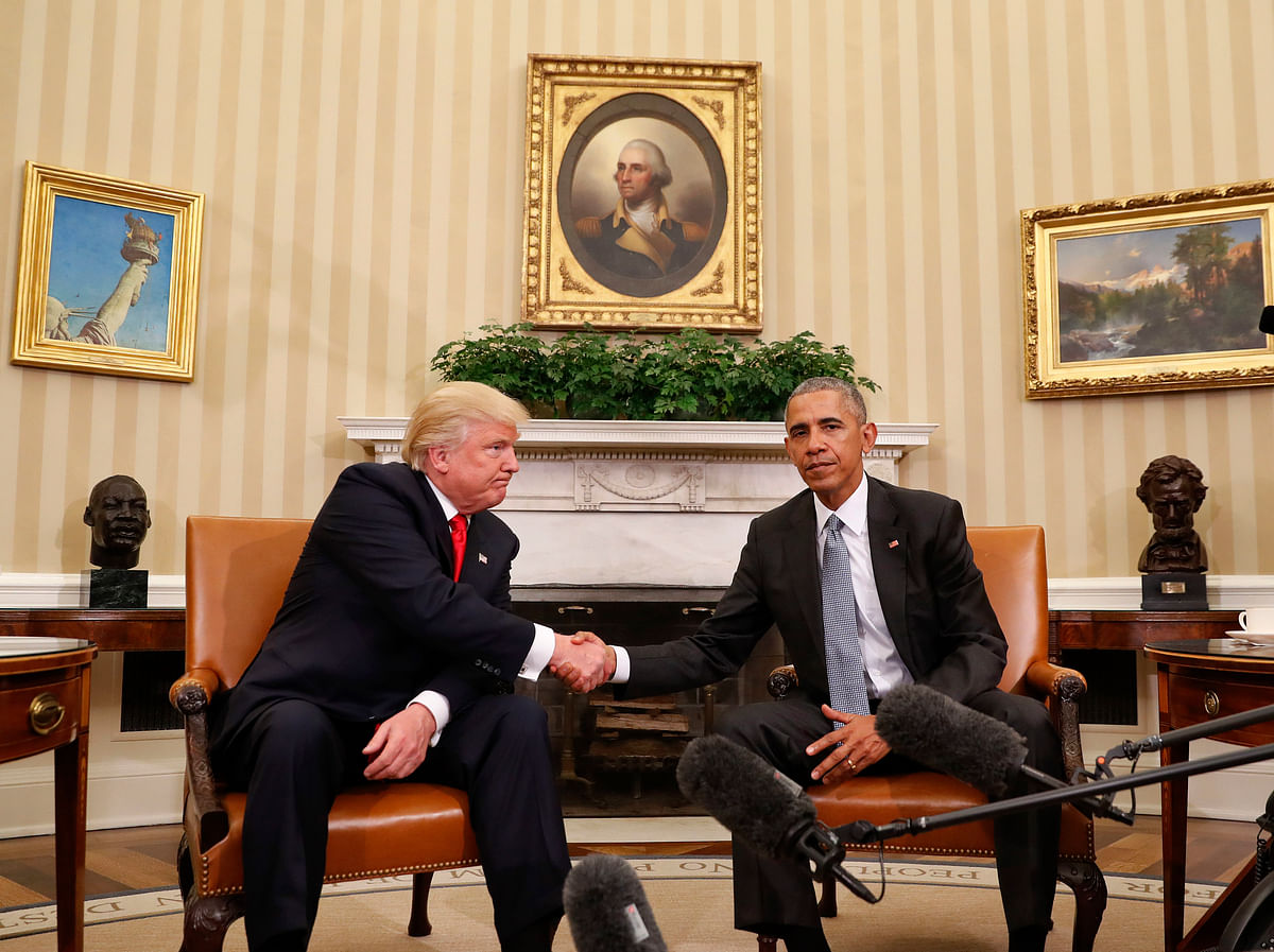 Donald Trump with current President Barack Obama at the White House on Thursday. (Photo: AP)