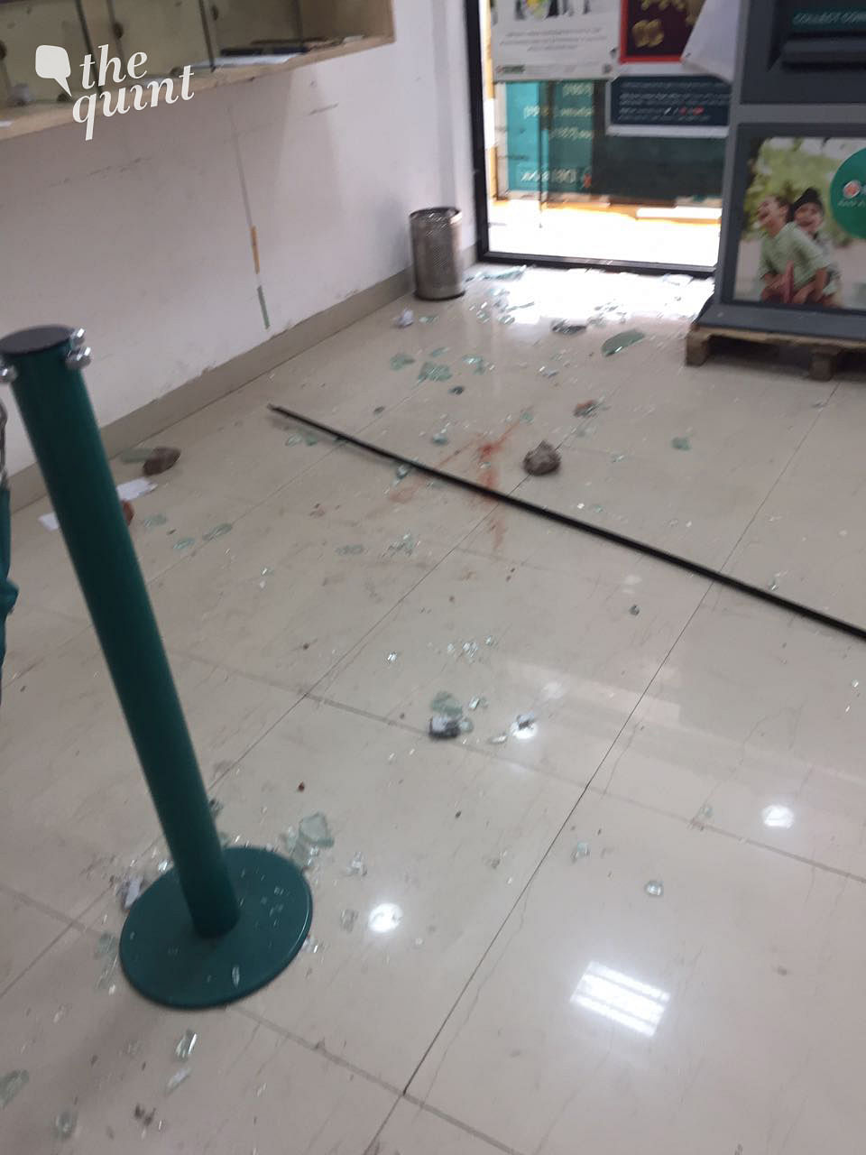 Some bank employees had to hide in the washroom for an hour after goons attacked the bank building. (Photo Courtesy: Daljit Kaur)