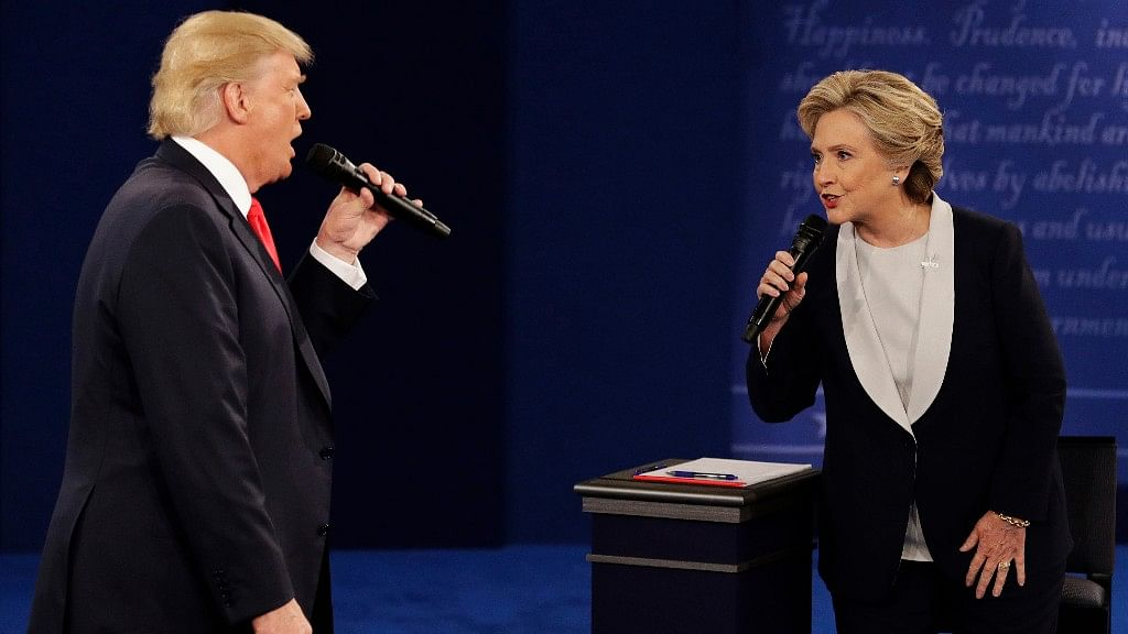 Donald Trump and Hillary Clinton in the final US Presidential Debate. (Photo: AP)