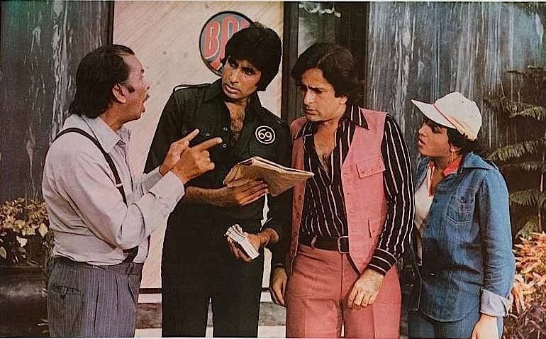Johnny Walker with Amitabh Bachchan, Shashi Kapoor and Bindya Goswami in a still from&nbsp;<i>Shaan</i>.