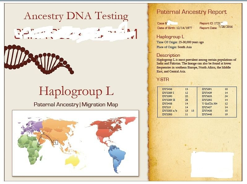 """An actual report that shows results of a persons ancestry test. (Photo: <a href=""""https://www.dnaforensics.in/"""">DNA Forensics Laborator</a>y)"""