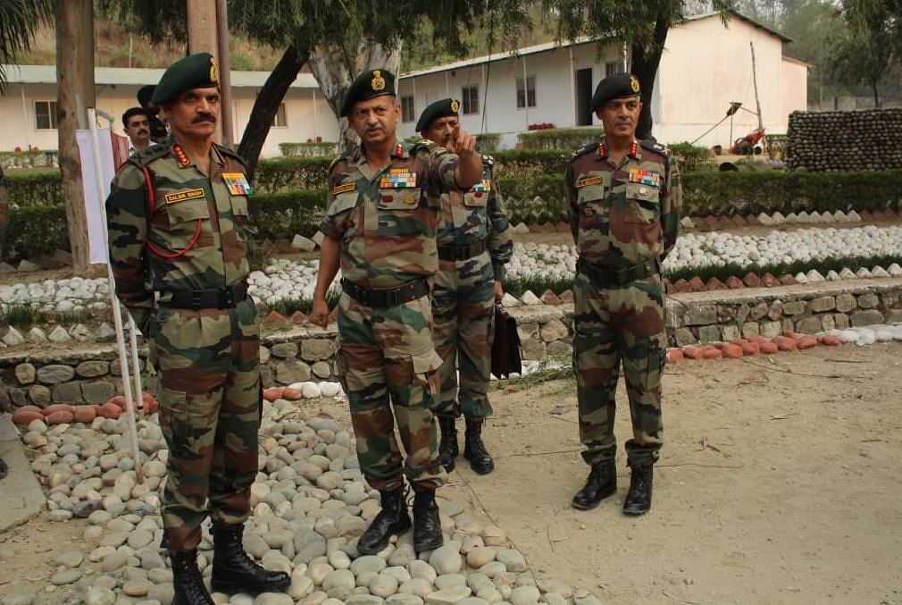 """Army Chief General Dalbir Singh at Nagrota taking stock of the situation. (Photo Courtesy: Twitter/<a href=""""https://twitter.com/NorthernComd_IA"""">@<b>NorthernComd_IA</b></a>)"""