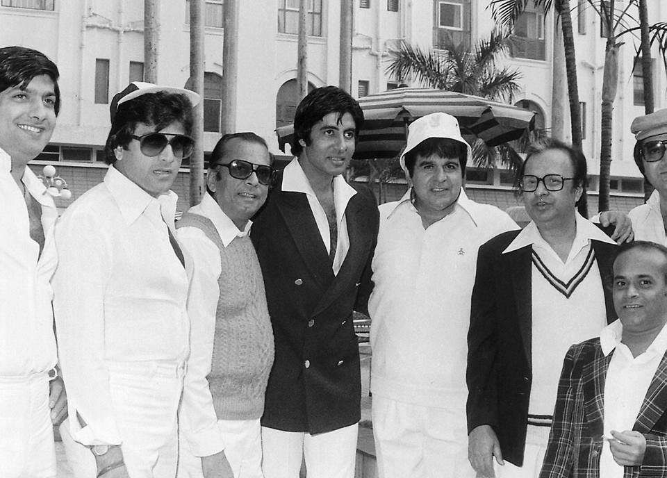 """(Third from left) Johnny Walker  with (from left) Anil Dhawan, Jeetendra, Amitabh Bachchan, Dilip Kumar, Anil Chatterjee, Rabi Ghosh and Prem Chopra at a charity cricket match at Eden Gardens in 1979. (Photo courtesy: <a href=""""https://www.facebook.com/photo.php?fbid=1661680557418354&amp;set=a.1470622189857526.1073741829.100007292772099&amp;type=3&amp;theater"""">Facebook/sanmoybanerjee</a>)"""