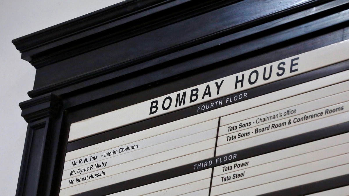 A name board is pictured at the entrance of Bombay House, headquarters of Tata Group, in Mumbai. (Photo: Reuters)