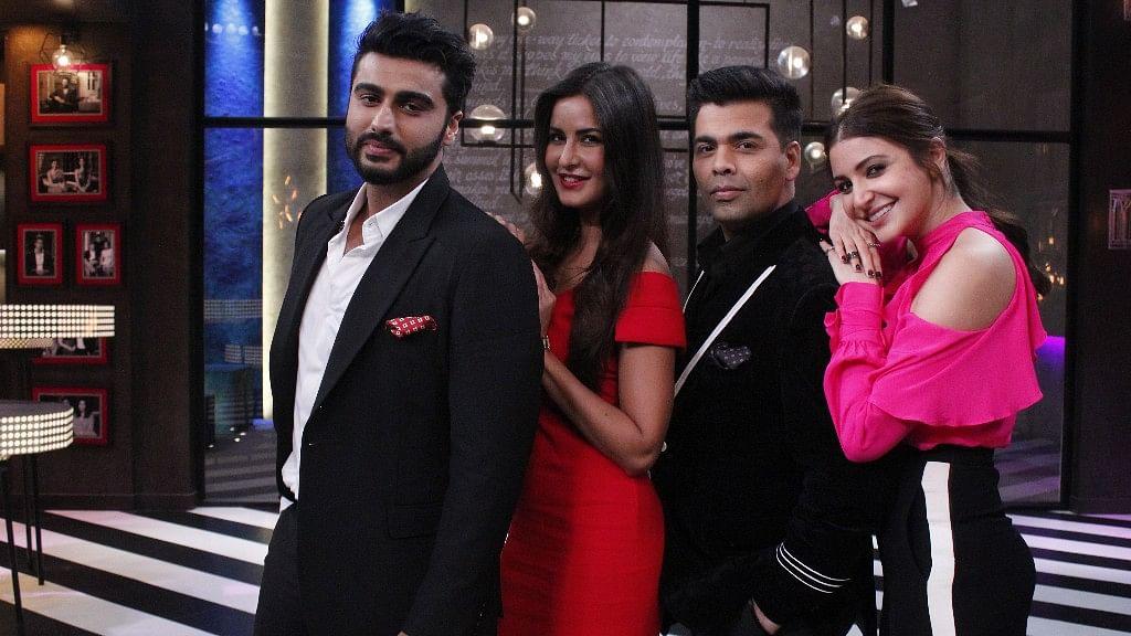 Arjun Kapoor, Katrina Kaif, Karan Johar and Anushka Sharma on the sets of <i>Koffee With Karan</i>. (Photo courtesy: Star World)