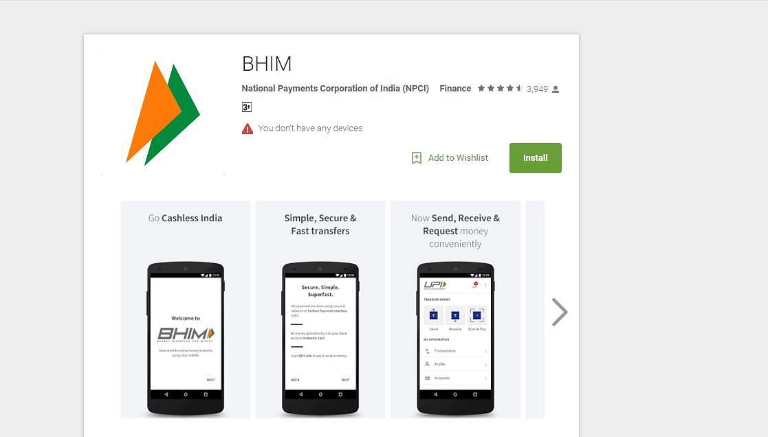 The BHIM app on Google Play store. (Photo: Google Play Store Screengrab)