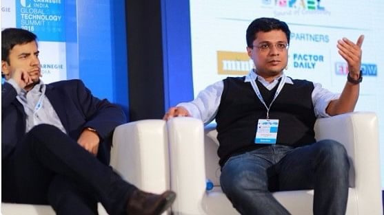"Bhavish Aggarwal and Sachin Bansal at the Global Tech Summit 2016 in Bengaluru. (Photo Courtesy: Twitter/<a href=""https://twitter.com/CarnegieIndia"">Carnegie India</a>)"