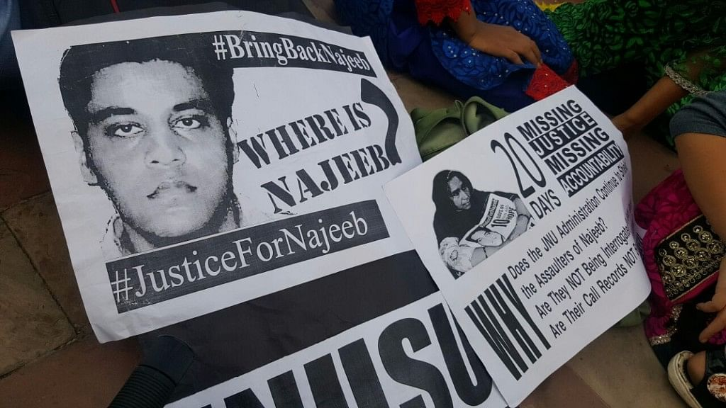 Posters at the solidarity meet for Najeeb Ahmad.