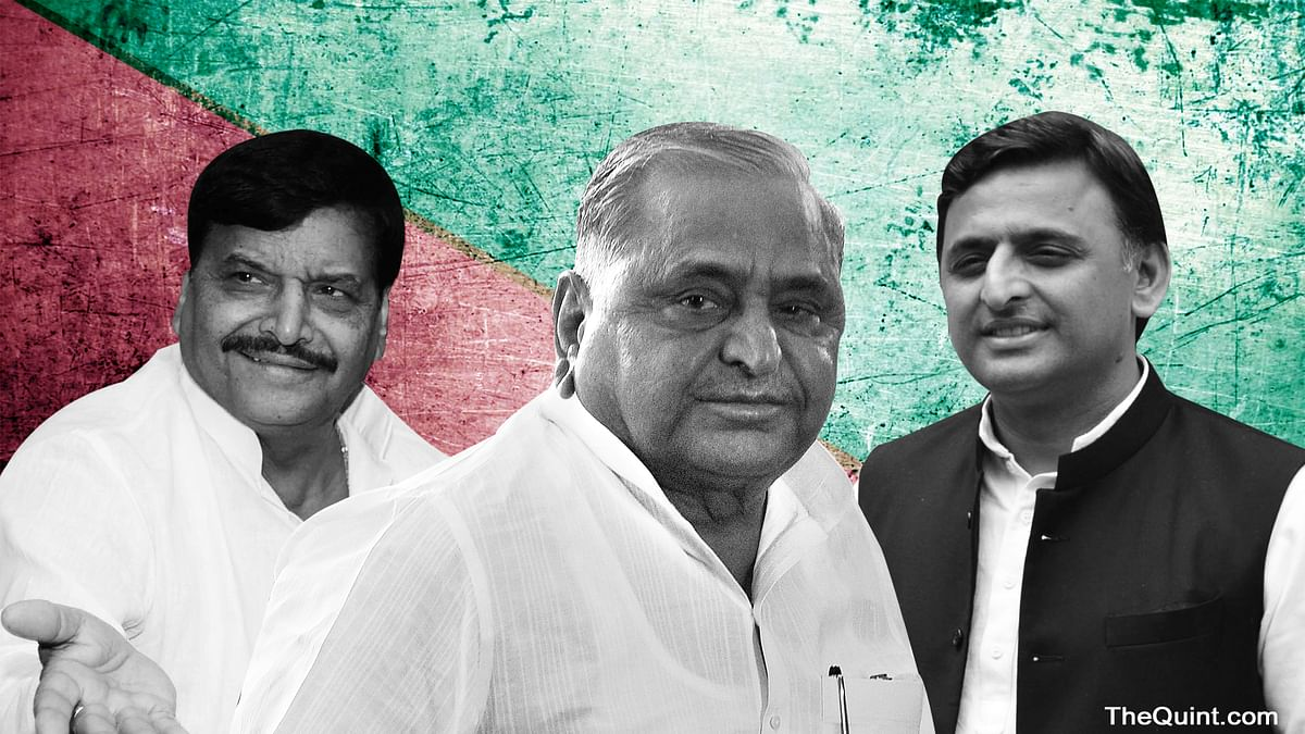 Shivpal Yadav, Mulayam Singh Yadav and Akhilesh Yadav. (Photo: <b>The Quint</b>)