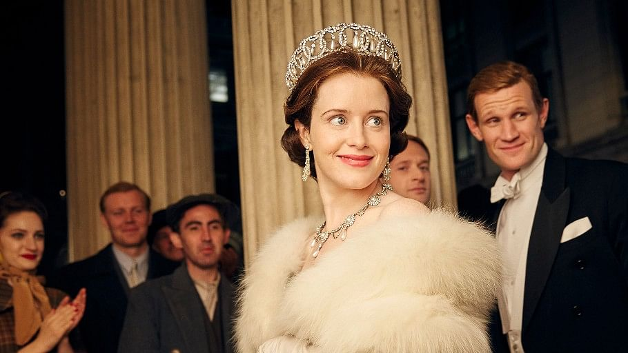Claire Foy as Queen Elizabeth and Matt Smith (right) as Philip, Duke of Edinburgh in a still from <i>The Crown</i>.&nbsp;
