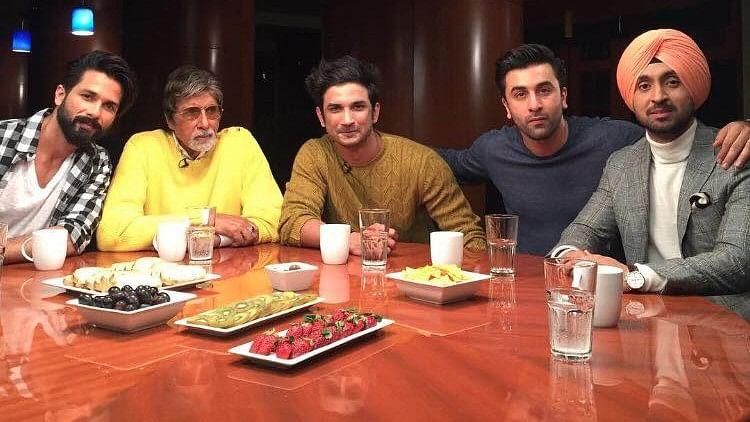 Shahid Kapoor, Amitabh Bachchan, Sushant Singh Rajput, Ranbir Kapoor, Diljit Dosanjh on the Actors Roundtable by Rajeev Masand. (Photo courtesy: Facebook)