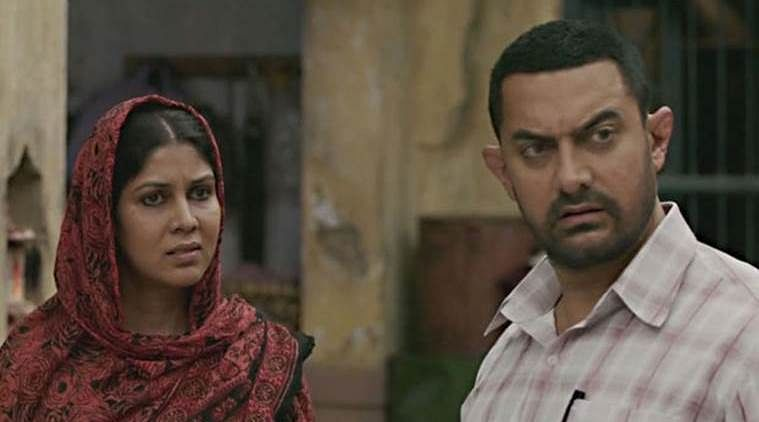 Sakshi Tanwar and Aamir Khan in a still from <i>Dangal</i>.