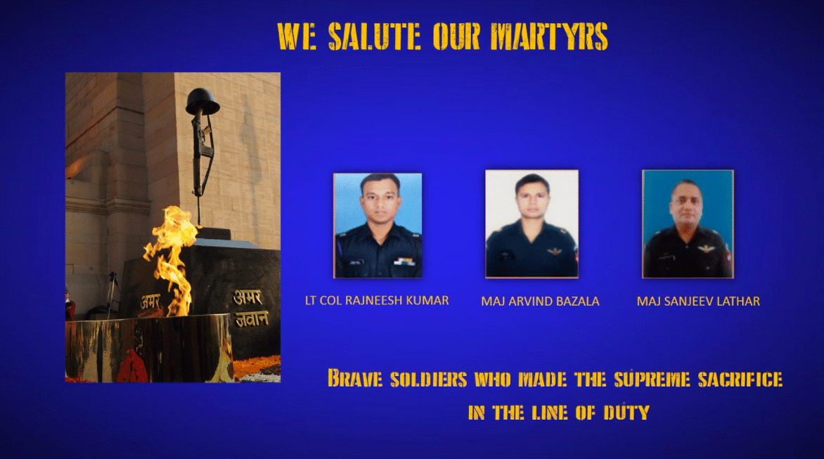 """The three martyrs of the Sukna incident. (Photo Courtesy: Twitter/<a href=""""https://twitter.com/adgpi"""">@<b>adgpi</b></a>)"""
