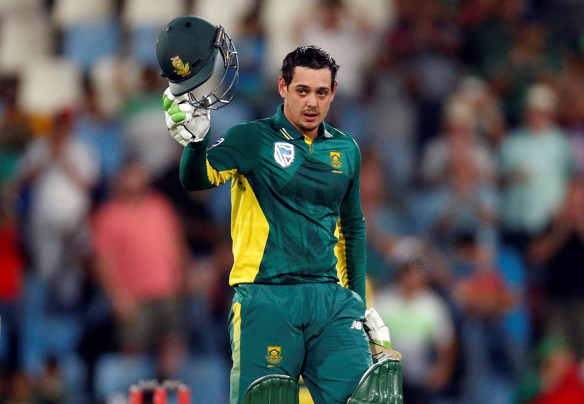 South Africa's Quinton de Kock celebrates his century. (Photo: Reuters)