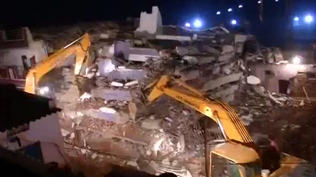 A six-storey building collapsed in Hyderabad