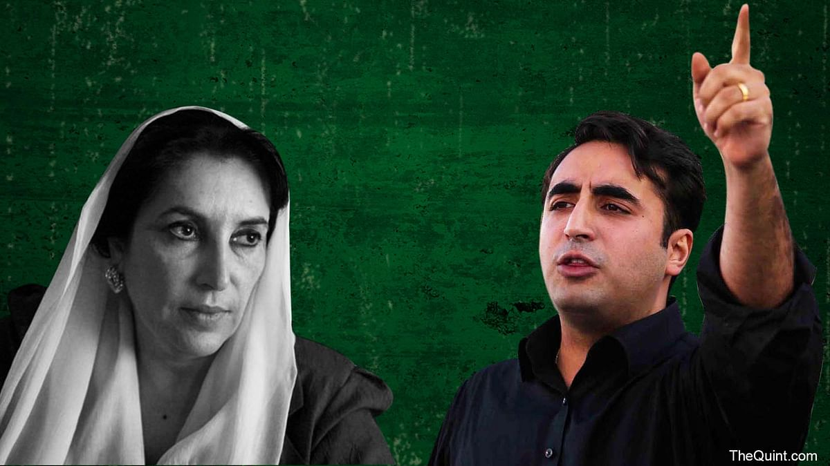Benazir Bhutto (L) and Bilawal Bhutto Zardari (R).