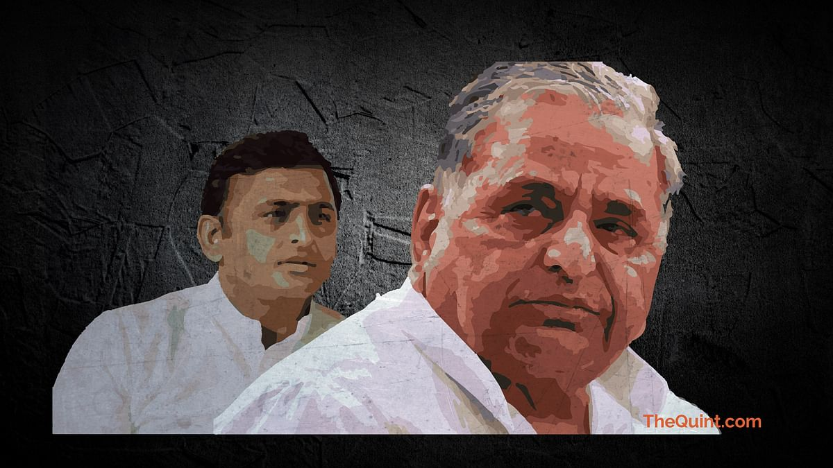 Mulayam Singh and son Akhilesh are at loggerheads just before the UP elections. (Photo: <b>The Quint</b>)