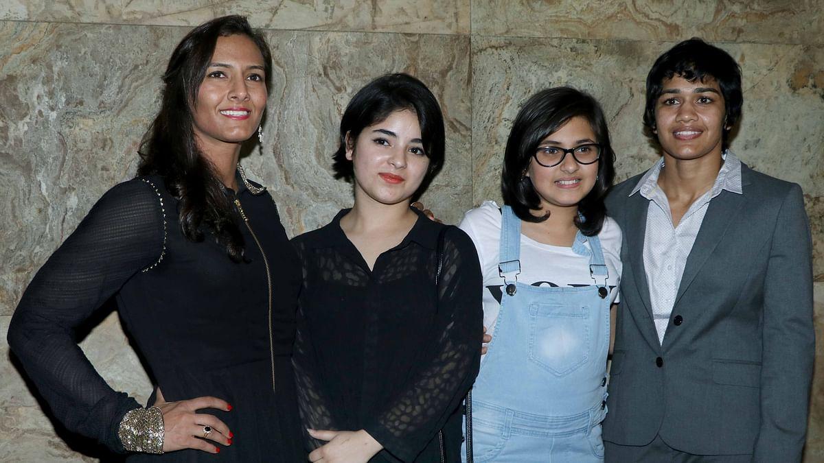 Geeta Phogat poses with Zaira Wasim and Babita Kumari with Suhani Bhatnahar. (Photo: Yogen Shah)