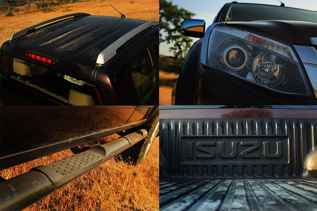 The roof rails, side step, projector headlamps and scratch-proof plastic of the Isuzu D-Max V-Cross 4×4. (Photo Courtesy: Motorscribes)