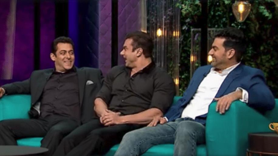Salman Khan with Sohail and Arbaaz in <i>Koffee with Karan</i>. (Photo courtesy: Star World)