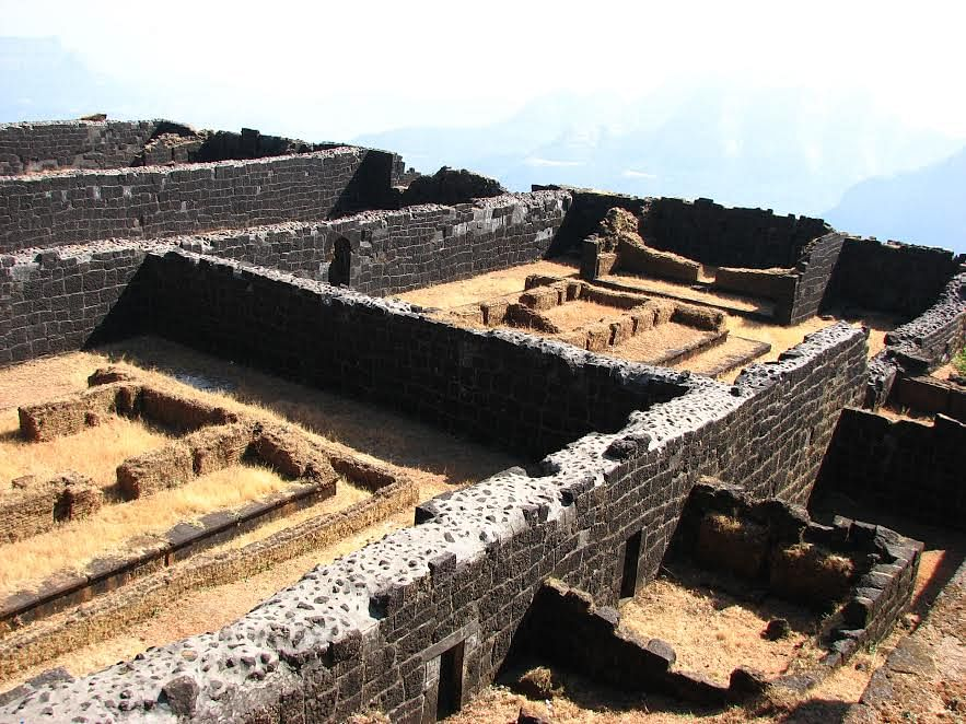 Raigad: Ruins and their exposed core masonry filled with cement for consolidation! (Picture courtesy: Sonal Chitnis)
