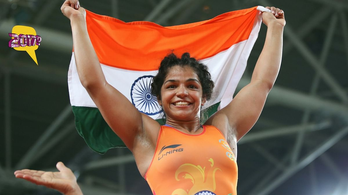 Sakshi Malik won a bronze medal at the Rio Olympics this year. (Photo: Reuters/Altered by <b>The Quint</b>)