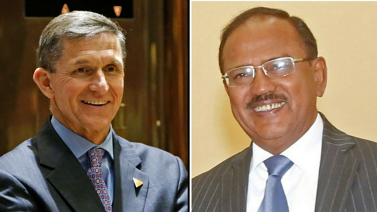 Trump's NSA-designate Michael Flynn (left) met Ajit Doval in Washington on Monday.