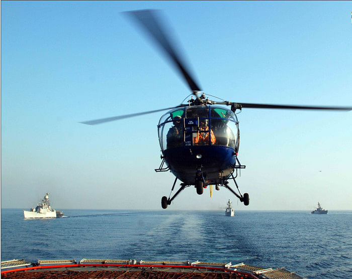 """Chetak and Cheetah rollout at HAL is down to a trickle since hardly any new orders are forthcoming from the three services. (Photo Courtesy: <a href=""""https://www.indiannavy.nic.in/sites/default/files/photo_gallery/Chetak.thumbnail_0.jpg"""">Indian Navy</a>)"""