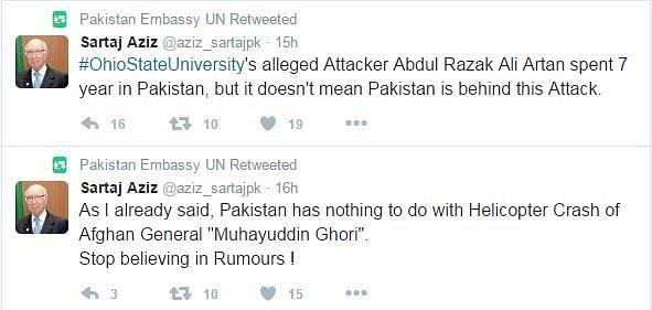 Fake account of Sartaj Aziz also posted on the site. (Photo Courtesy: Twitter)