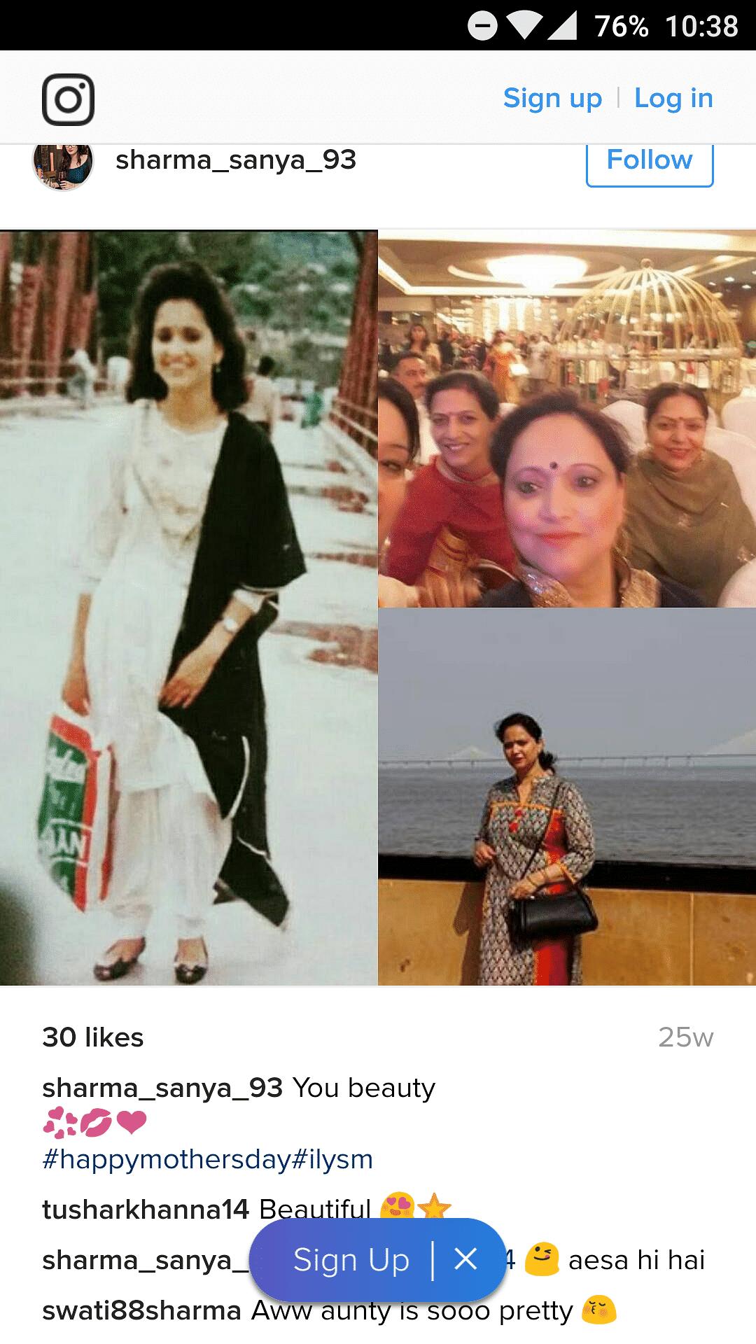 Fake Sanya Sharma's profile