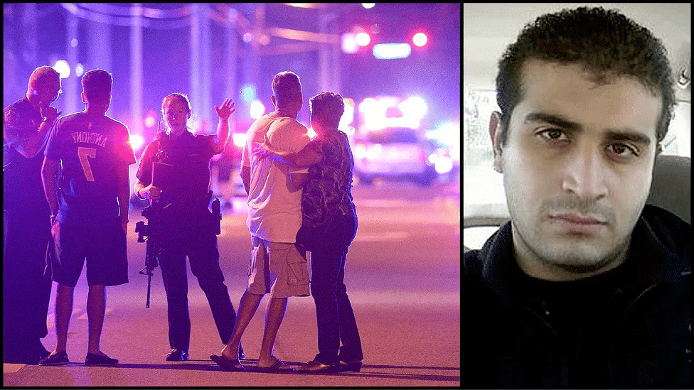 The relatives of Orlando shooting victims outside Pulse club (L), and Omar Mateen (R), the gunman who shot 49 people dead. (Photo: AP/<b>The Quint</b>)&nbsp;