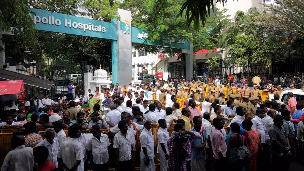People outside Apollo Hospitals in Chennai, where J Jayalalithaa was admitted.