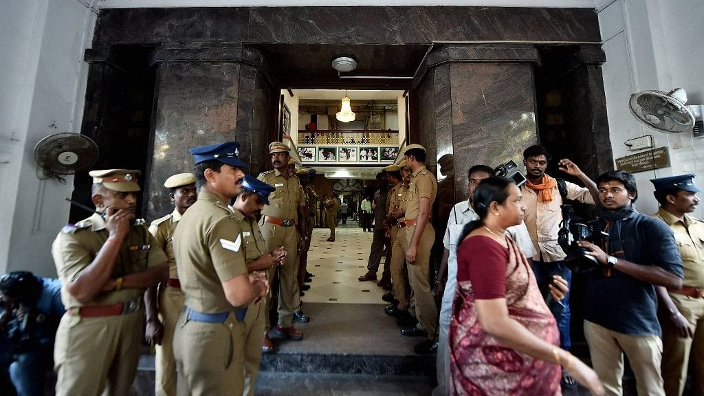Police personnel outside the entrance of Tamil Nadu State Secretariat during the raid at the chamber of former Chief Secretary P Rama Mohana Rao. (Photo: PTI)