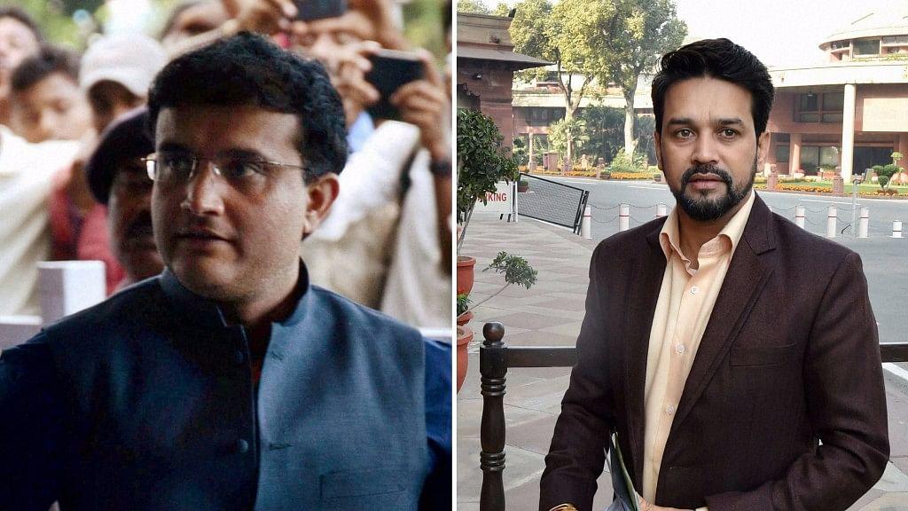 File photo of Sourav Ganguly and Anurag Thakur.