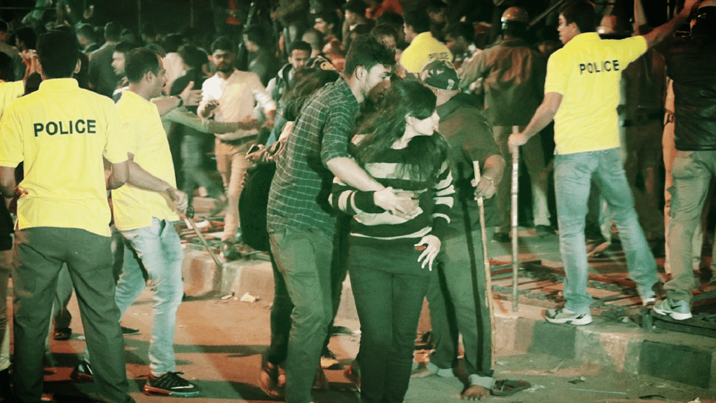 A picture from the deplorable New Year's eve melee  in Bengaluru. (Photo courtesy: Twitter)