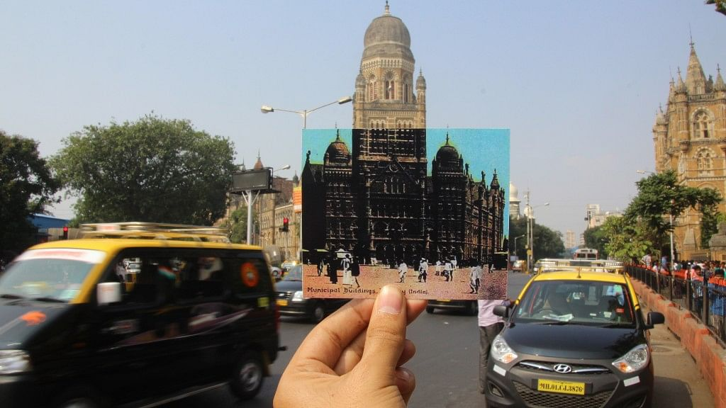 The current BMC building juxtaposed with a time when walking was still the norm in Bombay. Image used for representation.