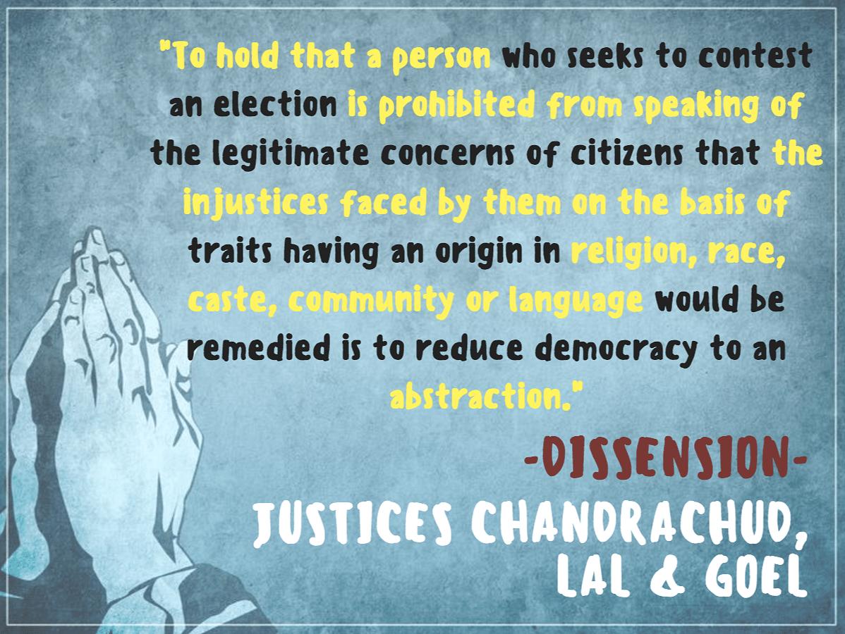An excerpt from the SC verdict in <i>Abhiram Singh v CD Commachen</i>. (Infographic: <b>The Quint</b>/Pallavi Prasad)