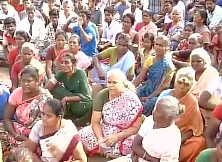 Villagers demand release of detained supporters. (Photo: ANI)