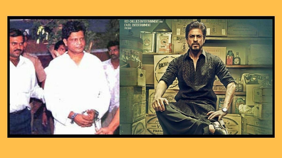 Abdul Latif arrested (L), Shah Rukh Khan as Raees Alam (R).