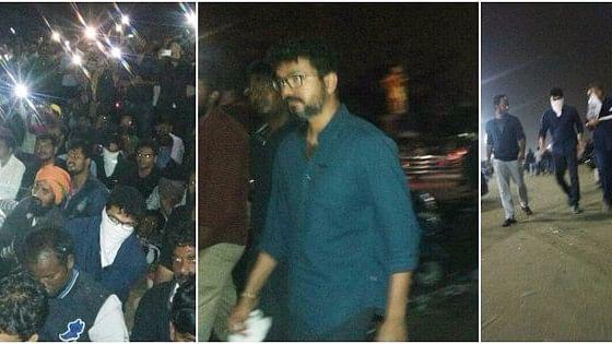 Tamil star Vijay at Marina beach with protestors against Jallikattu ban.