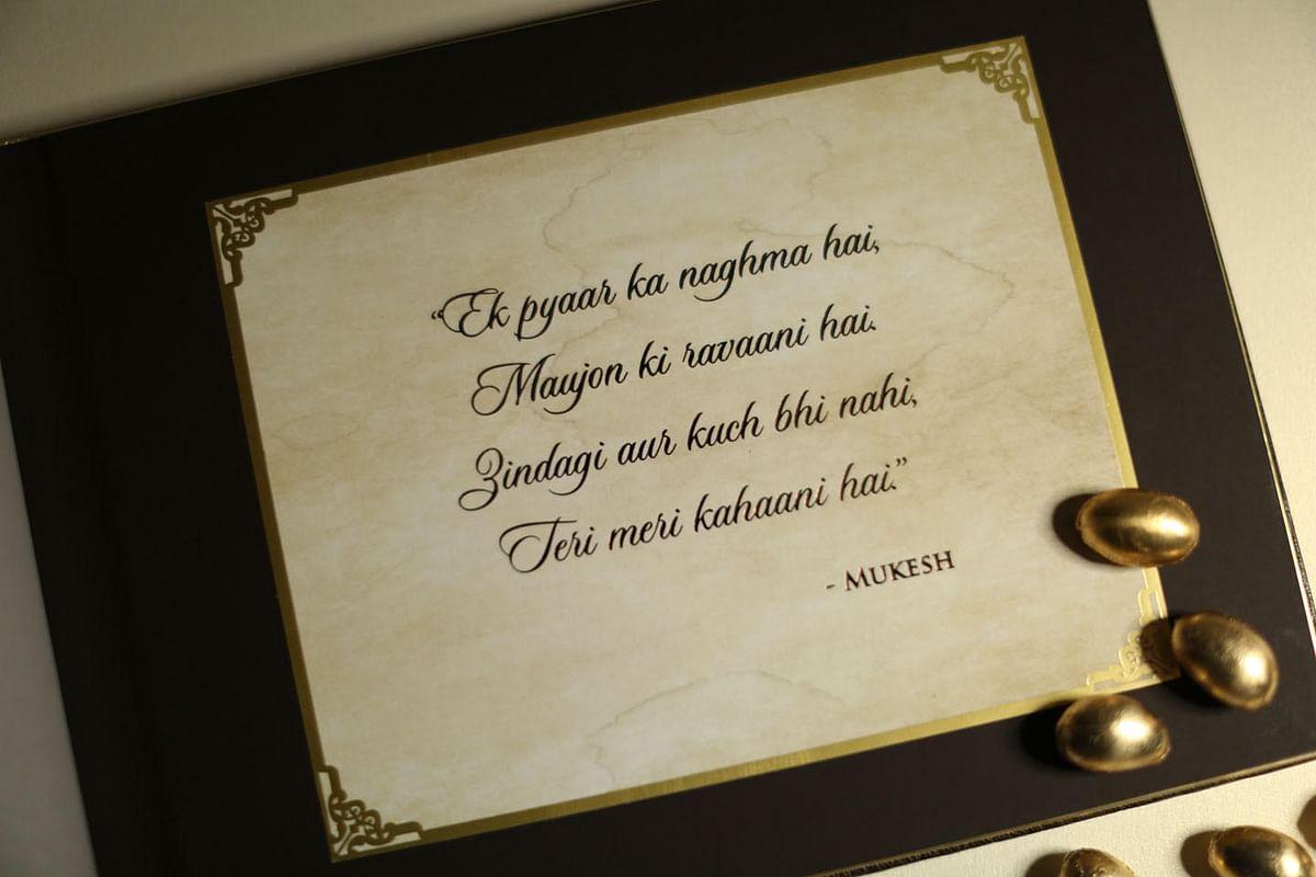 There's a little bit of Mukesh in Neil Nitin Mukesh's wedding card. (Photo Courtesy: Ravish Kapoor)
