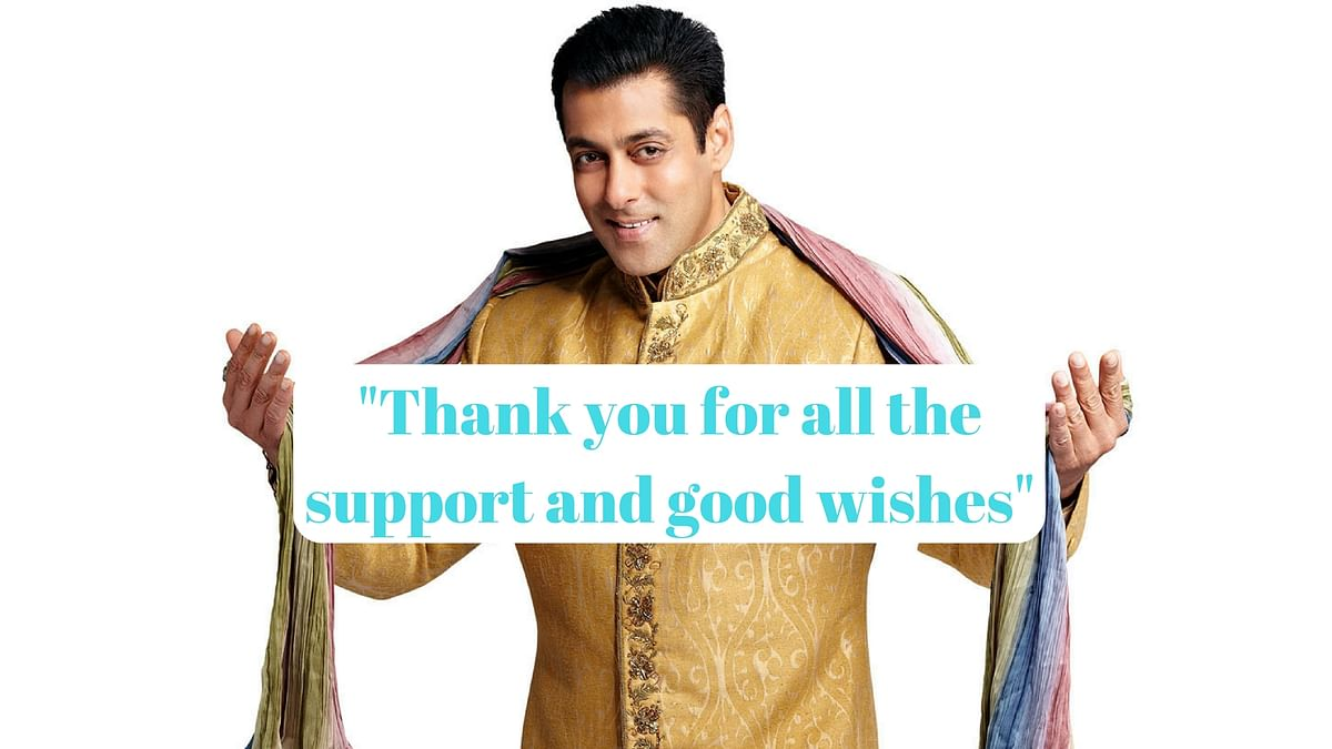 Salman Khan thanks his fans and supporters post his acquittal in the 1998 Arms Act case.