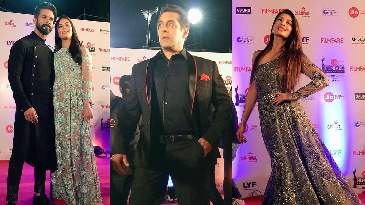 "Shahid and Mira Kapoor, Salman Khan and Jacqueline Fernandez on the red carpet. (Photo courtesy: <a href=""https://twitter.com/filmfare"">Twitter @filmfare</a>)"