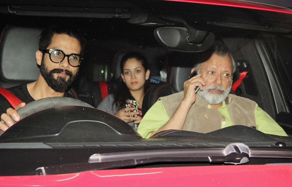 Shahid Kapoor with Mira Rajput and Pankaj Kapoor. (Photo: Yogen Shah)