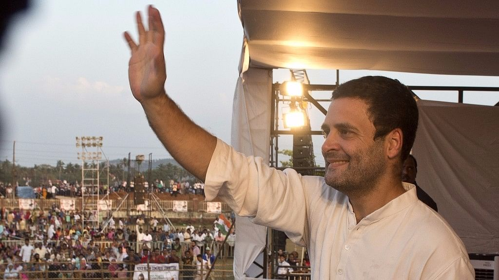 Congress Vice President Rahul Gandhi addresses during a rally in Goa on 16 Dec 2016.