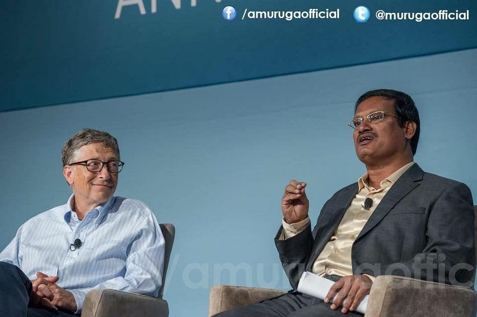 Bill Gates listens to Arunachalam speak at the 'Grand Challenges' Annual Meeting in Seattle. (Photo courtesy: Facebook)