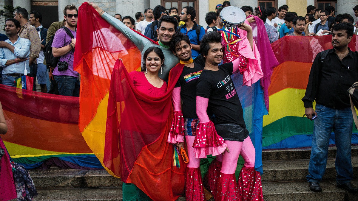 A group of LGBTQ activists posing in front of the pride parade in Bangalore. The image has been used for representational purposes. (Photo: iStock)